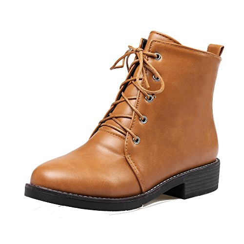 Boots AgeeMi Up Women's PU Toe EuX79 Heels Shoes Low Round Brown Low Closed Top Lace HHwr7Aq