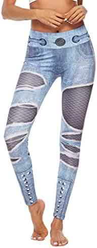 Sayhi Ladies Jeans Printed Yoga Pants High Waist Stretch Fitness Bottom Pants Ombre Seamless Leggings