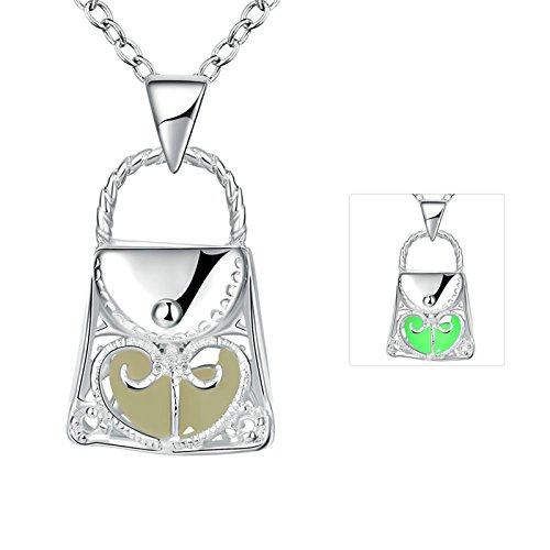 Book Character Costume Ideas For Girls (Gnzoe Women Trendy Fashion Handbag Shape Glow In Dark Pendant Necklace Chain)