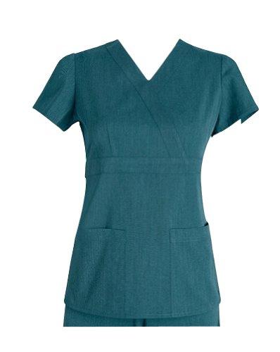 Bahama Heather (Grey's Anatomy Women's 2153 Mock Wrap Scrub Top Bahama Heather Small)
