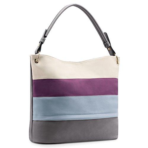 Plambag Multi Color Stripped Handbag for Women, Faux Leather Hobo Shoulder Tote Bag by Plambag