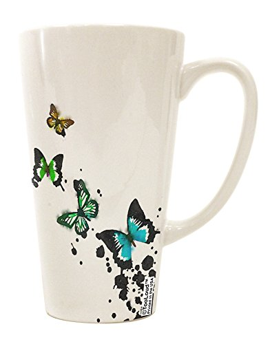 - TooLoud Splatter Butterflies AOP 16 Ounce Conical Latte Coffee Mug All Over Print
