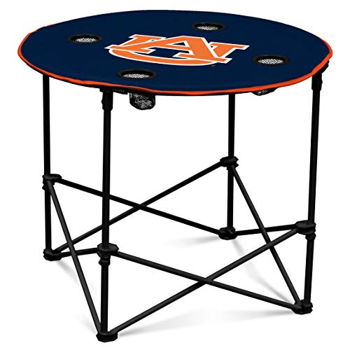 Auburn Tigers Collapsible Round Table with 4 Cup Holders and Carry Bag