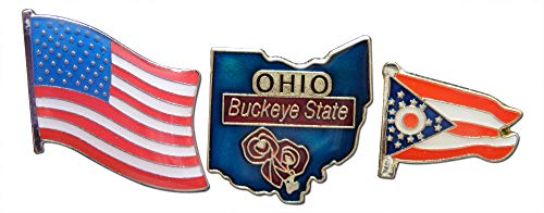 Ohio Buckeye State & United States American Flag Lapel Pin or Hat Pin & Tie Tack Set with Clutch Back by Novel Merk