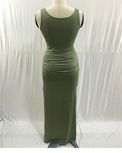 Simple Manche Fendue Femmes Vert Sans Robe Maxi Longue Extensible Robes Moulante wZqXOWtR