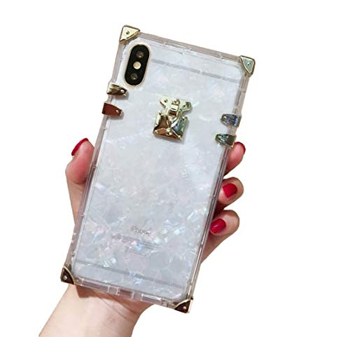 Compatible for iPhone 6 Plus/ 6s Plus/iPhone 7 Plus/iPhone 8 Plus Case,BabeMall Luxury Square Glitter Light Sliver Shell Transparent TPU Phone Metal Corner Soft Case (Shell Clear)