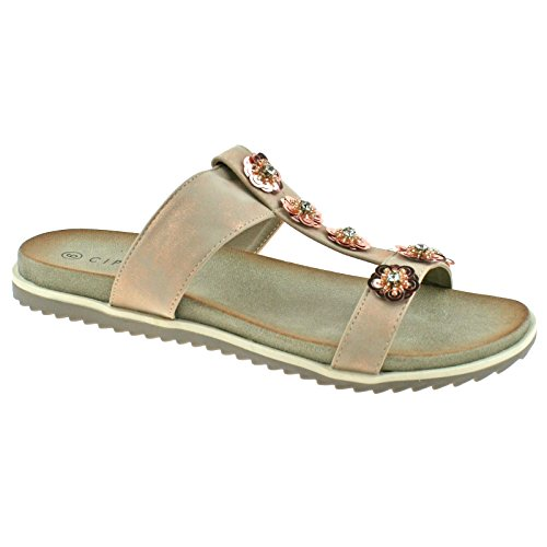 Diamante Flower Sandals Shimmer Pewter Light UK 37 4 EU Gold Ladies Mule Cipriata KD Gold L522 Ix8YXpw