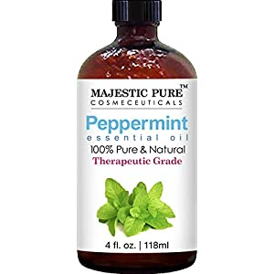 Majestic Pure Peppermint Essential Oil, Pure and Natural with Therapeutic Grade, Premium Quality Peppermint Oil, 4 fl. oz.