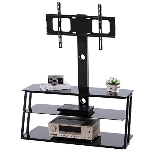TAVR TV Stand Entertainment Center with Swivel Mount and Storage Shelves and 3-in-1 TV Stand for 32 37 42 47 50 55 60 65 inch Plasma LCD LED Flat or Curved Screen TVs,Black TW3001