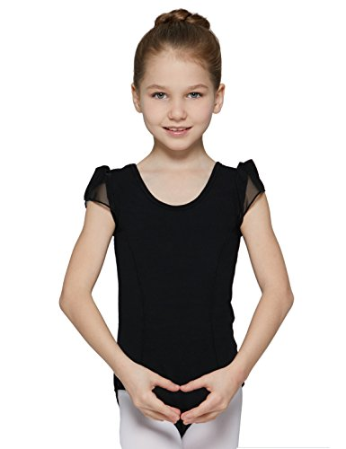 - MdnMd Ballet Leotard for Toddler Girls with Petal Cap Sleeve (Black, 2T-4T, Height 39-44