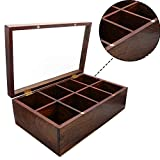 WhopperIndia Handmade Wooden Rectangular 8 Compartment Tea and Spice Storage Organizer Box with Magnetic Lid 12 Inch