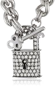 """Juicy Couture """"Totally Secure Couture"""" Silver Pave Padlock Chain Necklace, 16"""""""