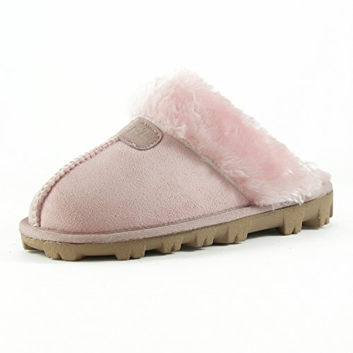 Clpp'li Women Slippers On Faux Fur Mules Fluffy Suede Comfy Slippers