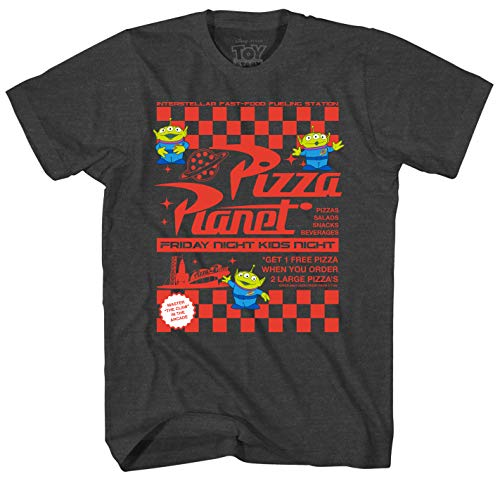 Graphics Food - Disney Toy Story Pizza Planet Flyer Men's Adult Graphic Tee T-Shirt (Charcoal Heather, XX-Large)