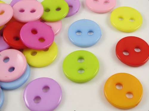 - YAKA 100pcs Mix Round 28mm 2 Holes Plastic Button/Sewing DIY Crafts Children's Manual Button Painting, DIY Handmade Ornament