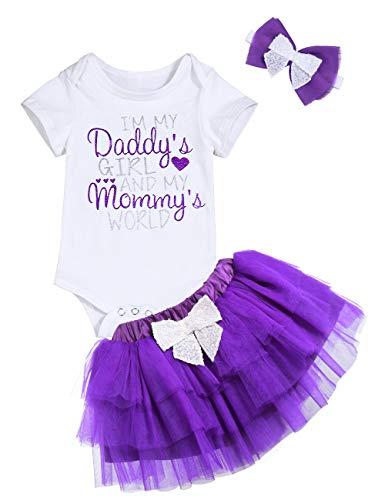 Newborn Baby Girl Outfit Daddy's Girl Mommy's World Funny Printed Short Sleeve Bodysuit Romper +Purple Tutu Skirt Set 6-12 Months