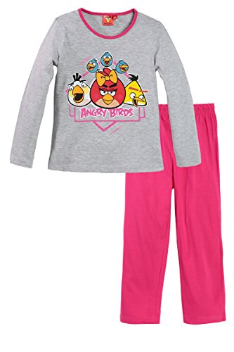 Birds Angry Enfant Foncé Gris rose Long Fille Pyjama 8ans rUdZqxr