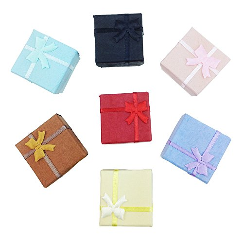 TRIXES 5 x Elegant Luxury Square Bow Ring Gift Boxes for Jewellery ()