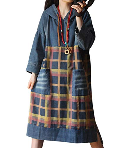 YESNO YQ9 Women Long Casual Denim Dress Hooded Pullover Jacket Plaid Stitched 3/4 Sleeve/Pockets