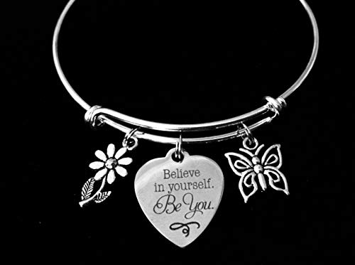 Believe in Yourself Be You Adjustable Charm Bracelet Expandable Silver Bangle Inspirational One Size Fits All Gift Daisy Butterfly Personalized and Custom Options Available