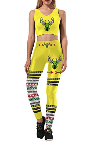 Selowin Women's Sexy Christmas Costume Moose Print Gym Sport Two Piece Sets Outfits