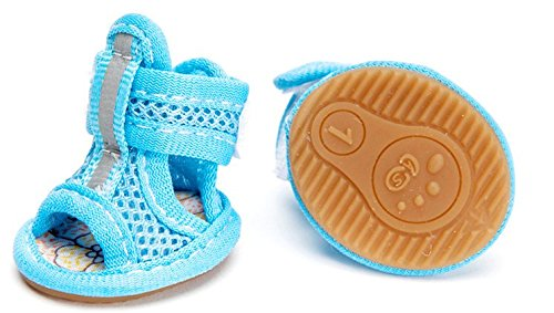 CoCocina Breathable Mesh Material Summer Dog Shoes Anti-Slip Small Animal Boots Paw Productive-Blue-#2 by CoCocina (Image #5)