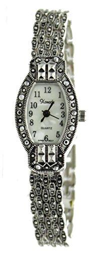 Exclusive Vintage Style Oblong Marcasite Ladies Bracelet Watch - New Ladies Marcasite Style Watch