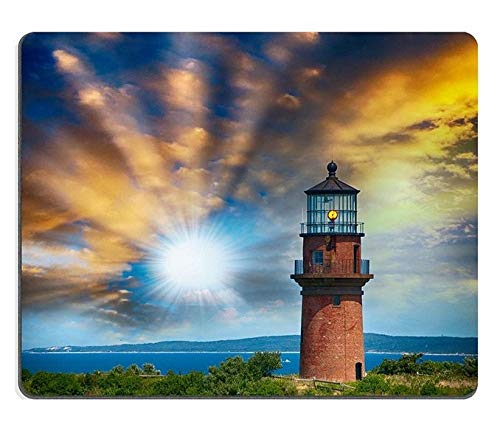 Mouse Pad Natural Rubber Mousepad Lighthouse on a Beautiful Island Sunset View with Trees and sea