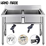 Mophorn Stainless Steel Bar Sink Commercial Standard Underbar Sink for bar kitchen restaurant (2 Compartment)