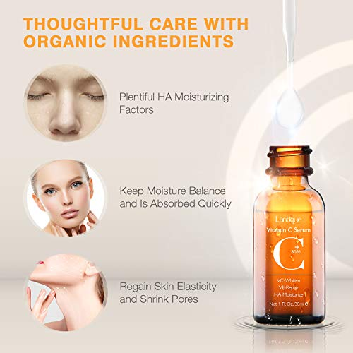 410oIHuYZML - 30% Vitamin C Serum with Hyaluronic Acid & VE for Face,Neck and Eye Treatment Serums | Anti-Aging, Anti-Wrinkle,Instant Moisturizers,Whitening Dark Spots Facial Serum Fits All Skin Type(1 fl.oz)