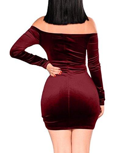 Fuori Del Irregolare Di Oro Bordo Coulisse Rosso donne Vestito Drappeggiato Velluto Spalla Coolred Vino Randello AqwTxY5tn