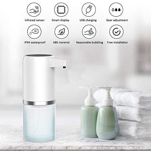 Babacom Seifenspender Automatisch Desinfektionsspender Berührungslosen 300ml Sprühspender mit Sensor Elektrischer Seifenspender für Küchen und Badezimmer Waschraum/öffentlicher Ort