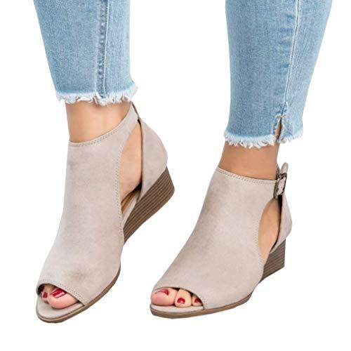 Ermonn Womens Cut Out Wedge Sandals Espadrille Peep Toe Ankle Strap Low Heel Sandals Beige