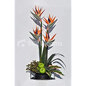 Large Bird of Paradise, Artificial Fruit & Palm Leaves Arrangent