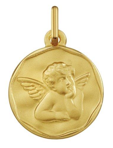 www.diamants-perles.com - Médaille Baptème - Médaille religieuse - Angelot - Biseauté - 18 mm - Or Jaune - 375/1000