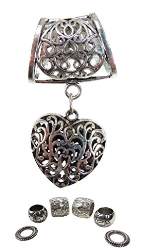 heart 3D pendant slide tube scarf rings charm scarves DIY Tube Slide Pendant