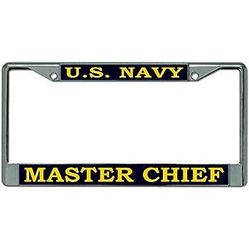 Amazon Com U S Navy Master Chief Chrome License Plate