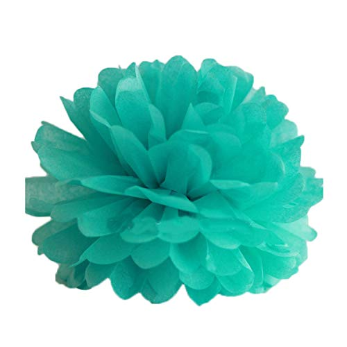 entertainment-moment 5Pcs Tissue Paper Pompoms Wedding Decorative Paper Flowers Ball Baby Shower Birthday Party Decoration Paper,Tiffany Blue,30Cm 12Inch