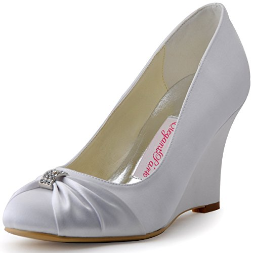 Party Toe Pumps Round EP2005 Wedge Wedding Shoes Satin Shoes High Heel Evening ElegantPark Rhinestones Silver 4zwE14