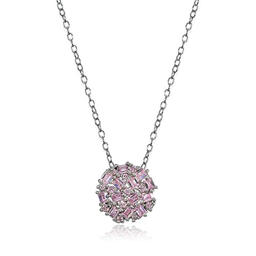 Sterling Silver Baguette and Round-Cut Light Pink Cubic Zirconia Cluster Round Circle Necklace (Round Prong Set Cluster Pendant)