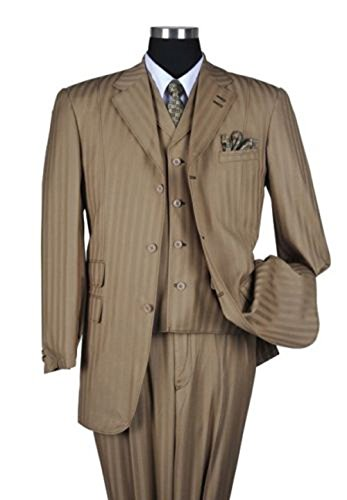 Fortino Landi Men's Pinstripe Stitching Design Fashion Dress Suit (Brown Pinstripe Pants)
