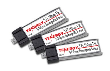 Combo: 3 Pcs Tenergy 3.7V 160mAh 15C LiPo Batteries for Micro Helicopters E-flite MSR /SR/ (160mah Battery)
