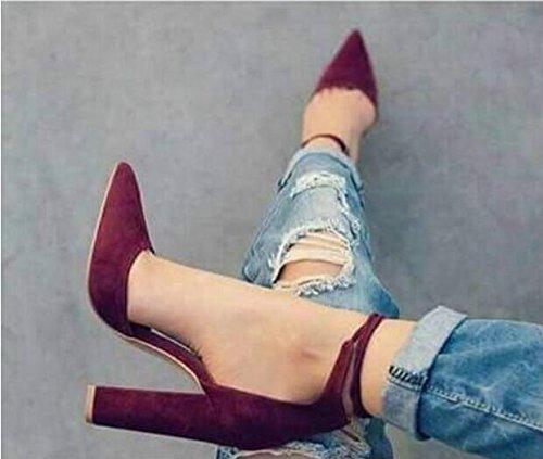 Tacón De Zapatos Dedo De Tobillo Alto Las Del De Vestir De Del Tobillo De La Grueso Correa Para Mujeres Moda Correa Acentuado Del De Tobillo Pie Zapatos Del Alto Red Tacón Tacón La VIVIOO dqY64q