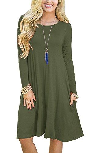 (PCEAIIH Women's Summer Plain Simple Pocket T-Shirt Loose Casual Midi Dress (Medium, 2-Long Sleeve-Army Green))