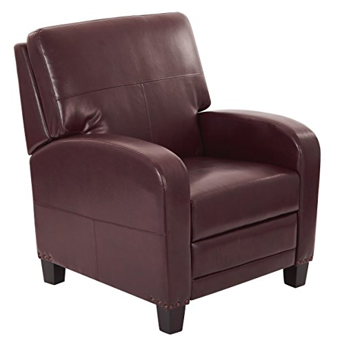 INSPIRED by Bassett Wellington Bonded Leather Recliner with Antique Bronze Nailhead Accents, Cocoa (Leather Recliner Bassett)