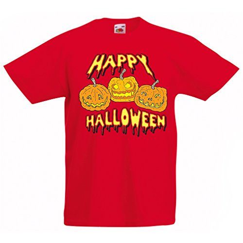 T Shirts for Kids Happy Halloween! Party Outfits & Costume - Gift Idea (3-4 Years Red Multi Color)