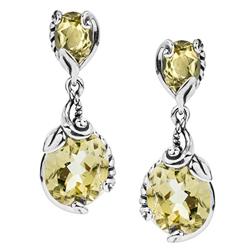 Carolyn Pollack Sterling Silver Lemon Quartz Drop Earrings - Quartz Drop Lemon