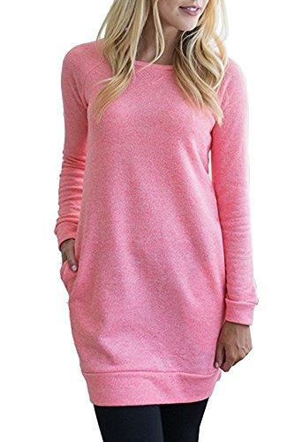 s Size Raglan Long Sleeve Casual Loose Pocket Tunic Sweatshirt Dress Pink XXL ()