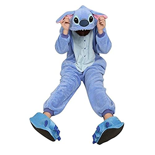 ReachMe Adult Carton Onesies Warm Soft Fleece Pajamas Cosplay Sleepwear Kigurumi(10 Stitch Blue)