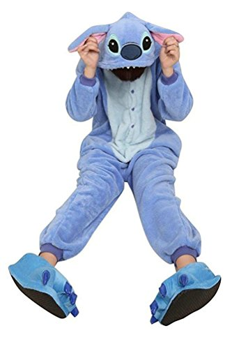 Plus Size Sulley Costumes (ReachMe Adult Carton Onesies Warm Soft Fleece Pajamas Cosplay Sleepwear Kigurumi(10 Stitch Blue))